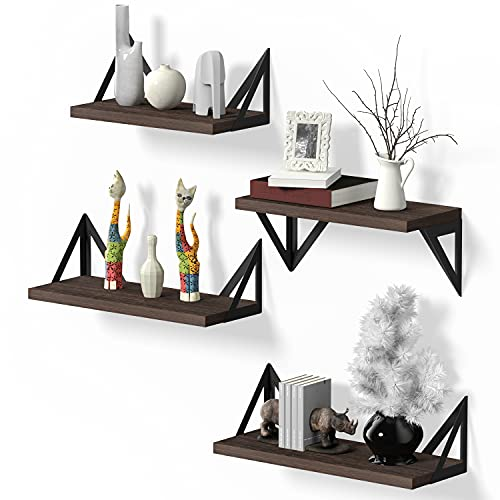 Klvied Floating Shelves Wall Mounted Set of 4, Rustic Wood Wall Shelves, Storage Shelves for Bedroom, Living Room, Bathroom, Kitchen, Office and More, Brown