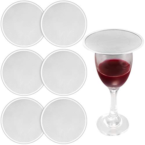 6 Pieces Stainless Steel Drink Covers Wine Glass Cover Keeps Debris Out Cup Covers Wine Glass Lid Mesh Ventilated Discs for Beverage Cover Outdoors Ventilation Reducing Splashing