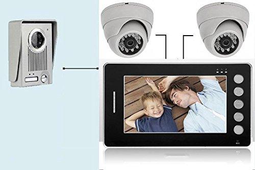 Videocitofono 7' colori FOTO Campanello +2 DomeTelecamera ultra sottile (445)