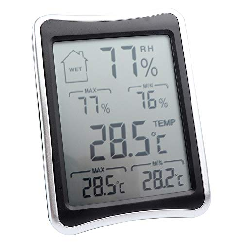 Vech Digital Thermometer and Hygrometer - Indoor Humidity & Temperature Monitor with Battery Included - Large, Bright LCD Display for Quick Reading - Multiple Mounting Options, Convenient Touch Screen