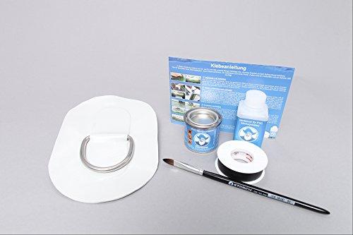 Set: D-ring + lijm kit, beslag om op te plakken voor rubberboten (grijs) DR-K2