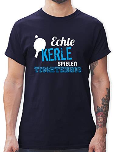 Sonstige Sportarten - Echte Kerle Spielen Tischtennis - L - Navy Blau - Tshirt Spielen - L190 - Tshirt Herren und Männer T-Shirts