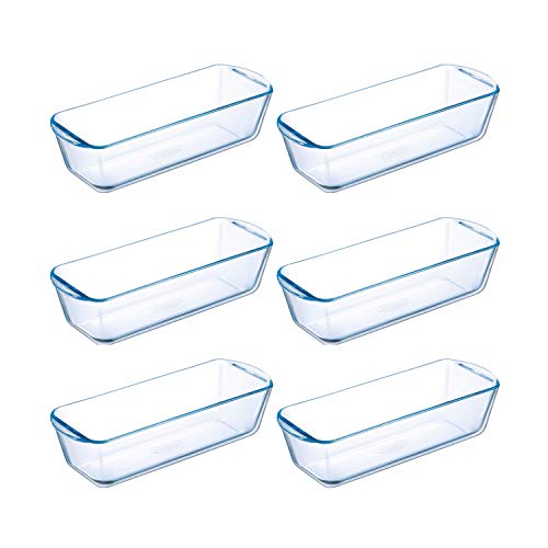 Pyrex Prep & Bake Glass Loaf Dishes - Set of 6 - High Heat Resistance Borosilicate Glass - 28.2 x 11.8 x 7.5 cm, 1.5 litres