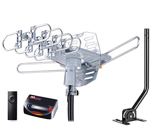 PBD WA-2608 Digital Amplified Outdoor HD TV Antenna with Mounting Pole & 40 ft RG6 Coax Cable 150 Miles Range Wireless Remote Rotation Support 2TVs