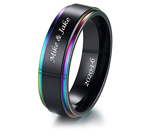 VNOX 8mm Customize Engraving Gay Pride Lesbian LGBTQ Stainless Steel Rainbow Pride Jewelry Wedding Engagement Promise Band Ring/Pride Parade Ring