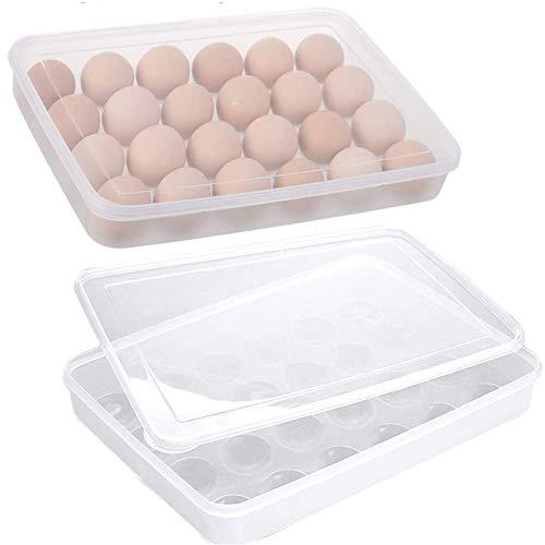 Cartón De Huevos Plástico, 2 Piezas Caja Envase Para Huevos Para La Nevera Caja Con Tapa Huevera De Plástico, Puede Contener 24