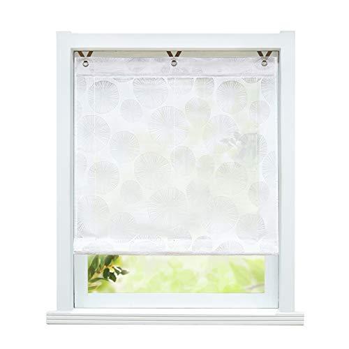 ESLIR Raffrollo ohne Bohren Raffgardinen Ausbrenner Ösenrollo Modern Gardinen mit Ösen Vorhänge Halbtransparent Weiß BxH 100x130cm 1 Stück