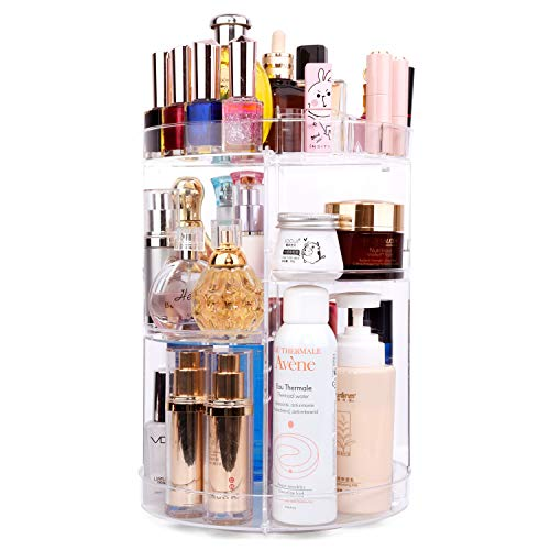 360 Degree Spinning Makeup Organizer, sanipoe Adjustable Makeup Carousel Round Rotating Storage Stand Rack, Large Capacity Ondisplay Shelf Cosmetics Organizer, Great for Countertop and Bathroom, Clear