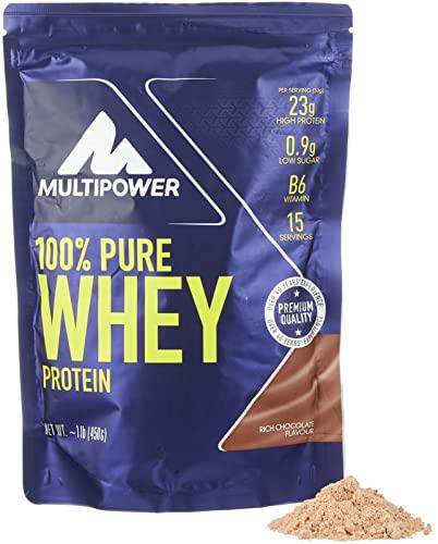 Multipower 100% Pure Whey Protein - Fino a 80% di Proteine del Siero del Latte - Proteine Isolate come Fonte Principale - 15 Porzioni - Per lo sviluppo Muscolare - 450 g - Gusto Cioccolato
