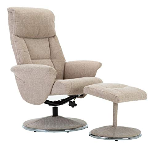 The Napoli - Modern Swivel Recliner Chair & Matching Footstool in Wheat Fabric