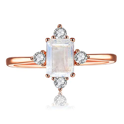 LAZLUVU Blue Topaz Rings, Moonstone Ring Rose Gold Engagement Promise Cubic Zirconia Rings Size for Womens Mom Jewelry Size 7