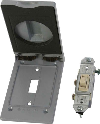 Made in USA Weatherproof Electrical Outlet Box Cover & Single Pole Switch Kit - Gray