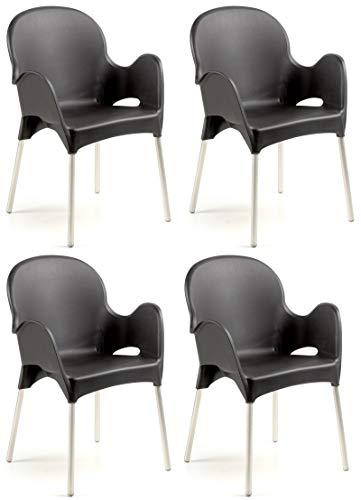 SF SAVINO FILIPPO 4 sillas Atena de resina dura negra antracita, patas...