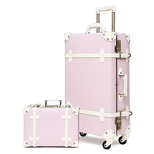 Ligero Conjuntos de equipaje vintage de 2 piezas con ruedas giratorias y cerraduras de combinación, maleta retro linda para la escuela Para salir por negocios ( Color : Green , Luggage Size : 20' )