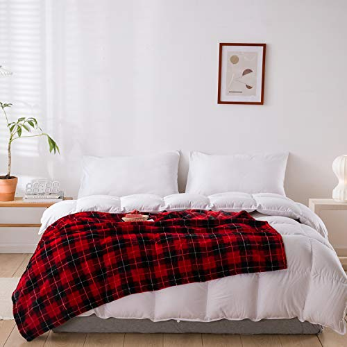 "JINGCHENG Buffalo Plaid Throw Blanket Soft Flannel Fleece Checker Pattern Warm Decorative Blanket for Bed Couch 350GSM (Red/Black, Throw(50""x60""))"
