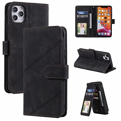 Funda para Xiaomi Redmi Note 10 4G / Note 10s – Cierre magnético de absorción de golpes ranura para tarjeta Kickstand silicona protección completa a prueba de golpes Flip Book Wallet Phone Cases negro
