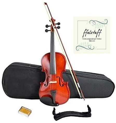 Violino 4/4 con Top in Tiglio finitura Lucida, Arco, Colofonia, Spalliera, Muta Corde di ricambio, Custodia