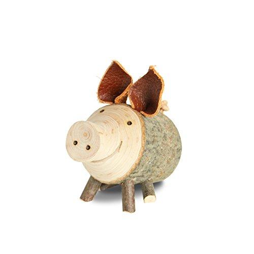 Waldfabrik Black Forest Astholzschwein Dekoration aus Naturholz ideal als Geschenkidee, Größe wählbar (Durchmesser: 4-5 cm sitzend)