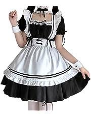 メイド 服 ゴスロリ 萌え コスプレ 衣装 フリル ロリータ かわいい カチューシャ 付き 6点 セット 清楚 可憐 ウェイトレス レディース