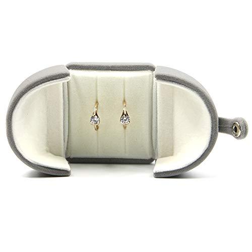 Kalaokei Caja de embalaje de joyería de terciopelo con doble apertura para joyas, collar, pulsera, caja de almacenamiento, caja de embalaje grande gris