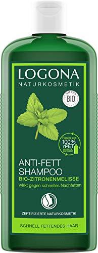 LOGONA natuurlijke cosmetica anti-vet shampoo bio-citroenmelisse, geeft lichtheid en frisheid, harmoniseert de balans op de hoofdhuid, met biologische plantenextracten, 250 ml