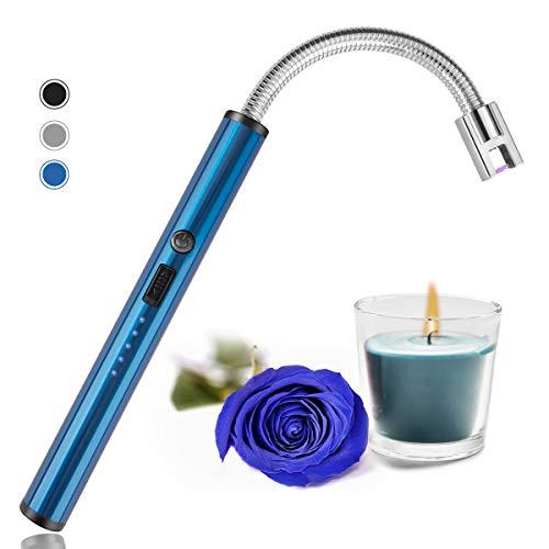 Encendedor de velas, carga USB eléctrico de arco con pantalla de alimentación LED, encendedor giratorio de cuello largo, apto para encender velas, camping, cocina, barbacoas fuegos artificiales (azul)