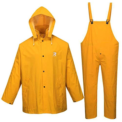 RainRider Traje de lluvia para hombres y mujeres de cuero para la lluvia, resistente chaqueta comercial de 3 piezas con pantalones babero en general, Amarillo, 3X-Large