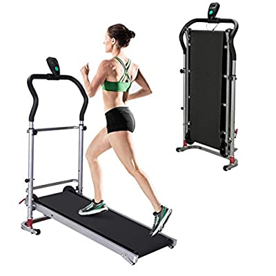 Folding Mechanical Treadmill Shock-Absorbing,with LCD Display,Up to 220 LB, Diamond Texture Running Belt, Anti-Static Surface Layer No-Electric Fitness Exercise Machine for Home Gym