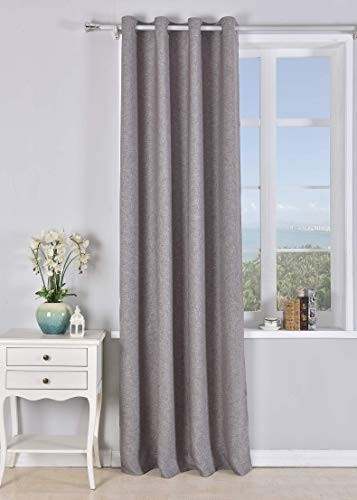 PimpamTex Cortina Opaca con 8 ollaos (1 Unidad de 140x260cm) para salón, habitación y Dormitorio. Modelo Falso Lino Blackout (Bisón)