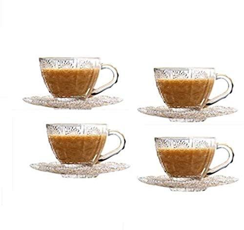 Taza de café espresso, taza de viaje, taza de la taza de cristal, taza de té de China, taza de café, taza de café, taza de té café, taza de té de cristal en relieve de estilo europeo, copa de capuchin