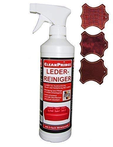 CleanPrince Leder-Reiniger 0,5 Liter Lederreiniger Leather Cleaner Lederschutz Leder Tiefenreiniger Reiniger für Ledermöbel Lederbezüge Autositze Lederkombi Motorradkleidung Lederstühle Schuhe 500 ml