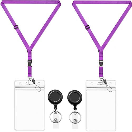 AMUU 2 Pack Badge Holder Clear Card Protector 4×3 Badge Lanyard with ID Badge Holder 4x3 Name Holders Badge Reel Holder Lanyards Adjustable Neck Office Cruise Lanyard Vertical