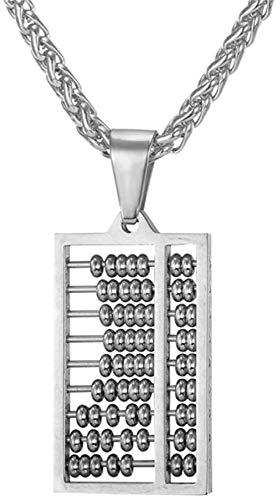 ZVBEP Halskette Abacus Halskette Silber Farbe Edelstahl Altes China Zählrahmen Halsketten Anhänger Für Männer Frauen Geschenkschmuck
