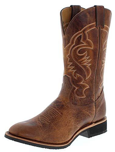 Boulet Herren Cowboy Stiefel 2164 EEE Sand Westernreitstiefel Lederstiefel Braun 43 EU