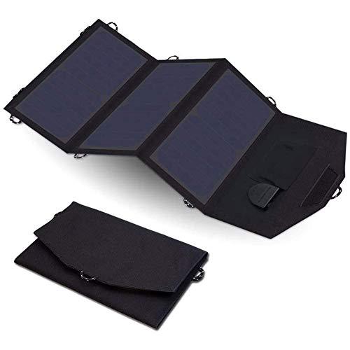 LIAOYUN Cargador Solar, Cargador de Panel Solar portátil al Aire Libre a Prueba de Agua de 21 W con 3 Paneles solares Plegables para teléfono Inteligente, Tableta, cámara y Camping LIAOYUN
