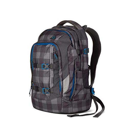Satch Checkplaid Schulrucksack Sat-Sin-001-9B0, 45 cm, 30 L, Grey Black Checks
