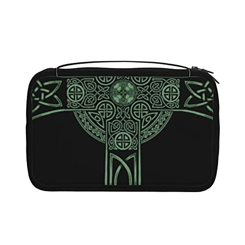 Kosmetiktasche mit keltischem irischem Kreuz, faltbar, mit Haken, Organizer mit mehreren Taschen