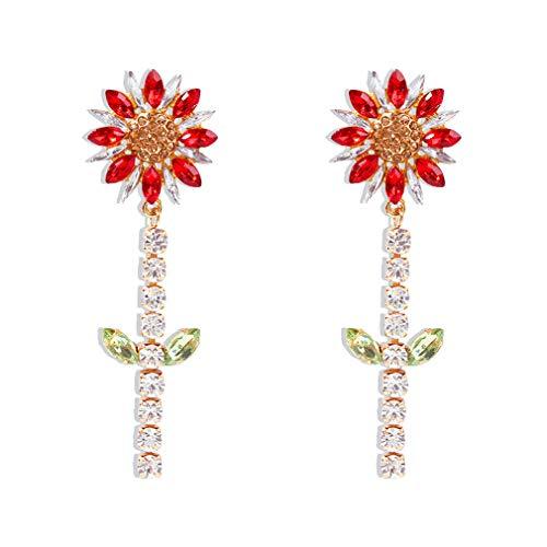 Ai.Moichien Pendientes Colgantes Largos De Diamantes De Imitación De Flores Boho Clásico Chapado En Oro Joyería Mujer Hipoalergénica Fiesta Elegante Accesorios