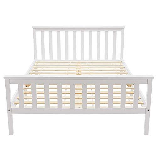 Cama doble de madera de 135 x 190 cm, cama de madera maciza con somier, cama de pino para adultos y jóvenes, color blanco