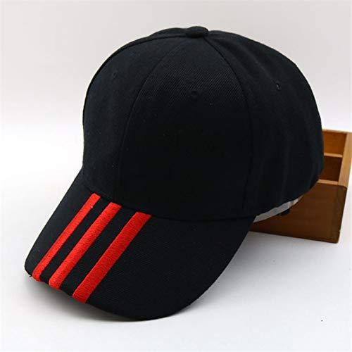 UKKD Hombres Mujeres Raya Tapa Ajustable Aleros Planos Curvado Sombrero de béisbol Sombrero de Ocio