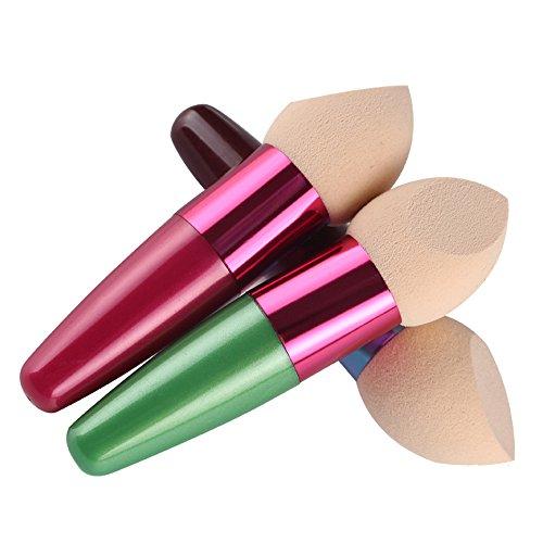Scala Foundation Makeup Sponge Eco Blender Beauty Cosmetics Egg Puff Make Up Sponge Brush (3pcs Green+Rose+Brown)
