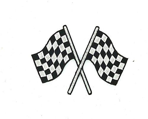 Patch ecusson brode thermocollant drapeau damier checkered course auto moto