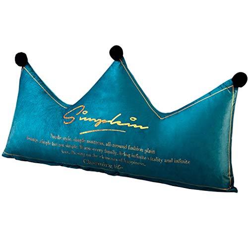 Almohadas lumbares Estilo nórdico Crystal Velvet Crown Soporte Trasero Pillow Memoria de Espuma Relleno Lumbar Pad para la Cama de la Oficina Sofá (Color : A, Size : 120CM)