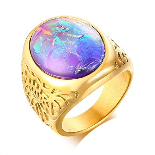 RNXRB Mens Gents Oval Opal Ring in Gold Stainless Steel Vintage Men s Jewellery Male Punk Fashion Accessories-8_OPAL1