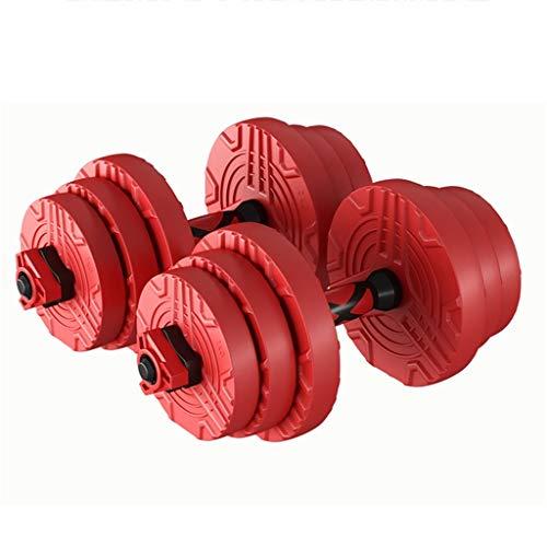 Mancuernas Goma Ambiental Fitness Masculinas Juego Peso Ajustable Nuevos Materiales De PE Ecológicos para Uso Doméstico (Color : Red, Size : 15KG*2)