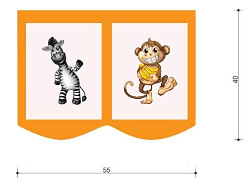 XXL Discount Sac de rangement pour lit d'enfant - Dimensions : 55 x 40 cm - 100 % coton - Accessoires de lit - Lit superposé - Lit mezzanine - Sac en tissu (Orange/beige, jungle)