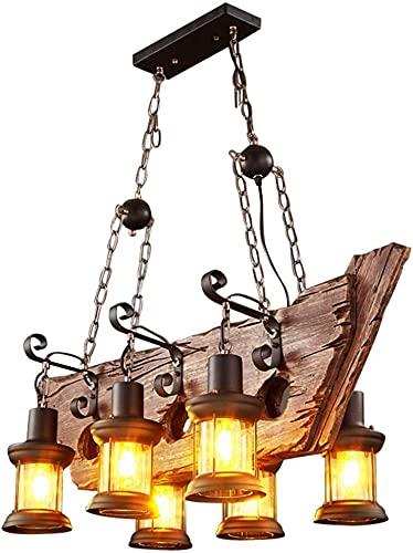 Retro Altura Ajustable Madera Colgante Luz Industrial Loft Bar Colgante Lámpara Personalidad Sala De Estar Dormitorio Dormitorio Metal Lámpara De Techo E27 Lámpara De Colgante De Madera Antigua Vintag