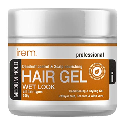 Irem Dandruff control & Scalp nourishing hair gel - Conditioning and Styling Gel For Men & Women - With Ichthyol Pale, Tea tree and Aloe vera extract - Medium hold - All hair types 200g…