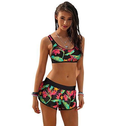 NiSeng Donna Due Pezzi Costumi da Bagno Stampa Fogliare Bikini Beachwear Elegante Costume da Bagn...