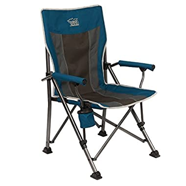Timber Ridge Camping Chair Ergonomic High Back Support 400lbs with Carry Bag Folding Quad Chair Outdoor Heavy Duty, Padded Armrest, Cup Holder
